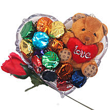 Teddy Fresh Rose And Chocolate Gift Tray: Send Valentine Gifts to Nepal