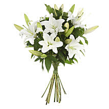 Exotic White Lilies Bouquet: Sympathy Flower Delivery New Zealand