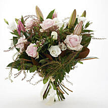 Fresh Roses N Lilies Bouquet: Congratulations Flowers to New Zealand