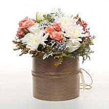 Peach Flowers In Copper Pot: Send Valentines Day Flowers to New Zealand