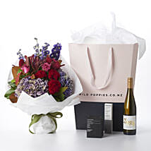 Precious Flower N Wine Gift Hamper: Mothers Day Flowers to NZ