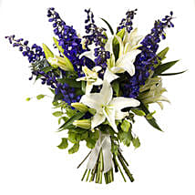 White N Blue Bouquet: Lilies to New Zealand