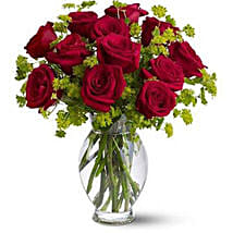 Red Roses in Glass Vase OM: Oman Gift Delivery