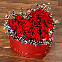 Red Roses In Heart Shape Box OM: Send Gifts to Oman