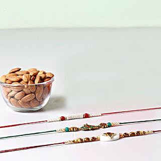 Combo Of Almonds And 3 Glorious Rakhis: Rakhi to Manila