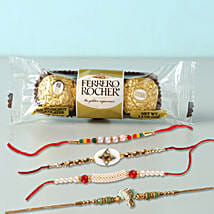 Yummy Rocher And 4 Rakhis Combo: Rakhi Delivery in Philippines