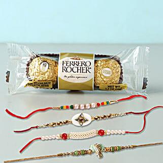 Yummy Rocher And 4 Rakhis Combo: Rakhi to Manila
