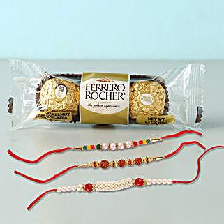 3 Rakhis With Rocher Yummy Combo: Send Rakhi to Qatar