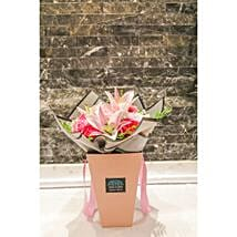 Delicate Pink Flowers Arrangement: Roses to Qatar