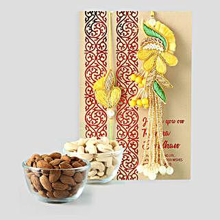 Dry Fruits And Bhaiya Bhabhi Rakhi Combo: Rakhi for Bhaiya Bhabhi in Qatar