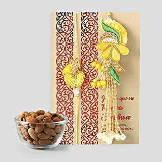 Healthy Almonds And Bhaiya Bhabhi Rakhi Combo: Bhaiya Bhabhi Rakhi in Qatar