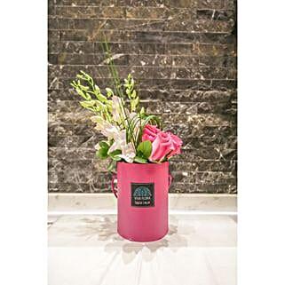 Joyful Pink Box Floral Arrangement: Flower Delivery in Qatar