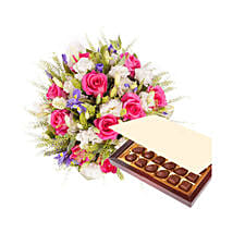 Princess Pink with Chocolates: Send Anniversary Flowers to Qatar