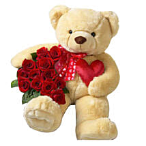 Red Roses And Medium Teddy Combo: Send Flowers to Qatar