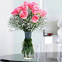 Glorious 12 Pink Roses: Valentines Day Flowers to Saudi Arabia
