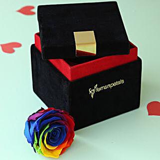 Mystic Forever Rainbow Rose in Velvet Box: Valentine's Day Gifts to Saudi Arabia