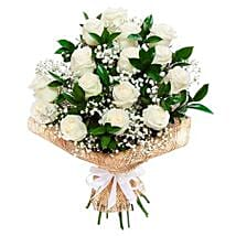 Soothing White Roses Bouquet: Send Anniversary Flowers to Saudi Arabia