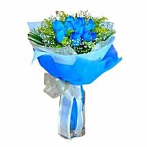 10 Blue Roses Hand Bouquet: Anniversary Flowers to Singapore