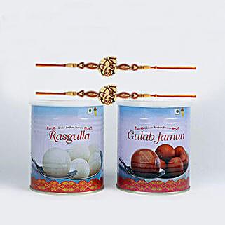 2 Designer Rakhi And Sweets Combo: Rakhi for Kids in Singapore