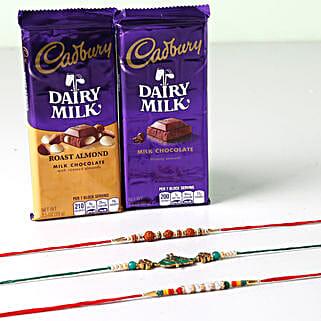 Combo Of Cadbury Dairy Milk And 3 Rakhis: Rakhi with Chocolates to Singapore