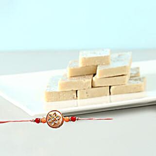 Fancy Rakhi And Kaju Barfi Combo: Rakhi and Sweets to Singapore
