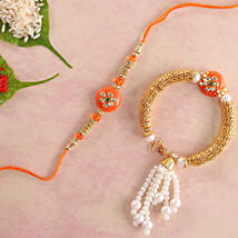 Glittering Orange Lumba Rakhi Set: