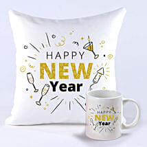 Happening New Year Greetings Mug And Cushion: Send New Year Gifts to Singapore