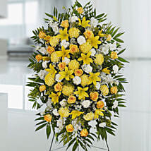 Happy Yellow Flower Stand: Funeral Flowers to Singapore