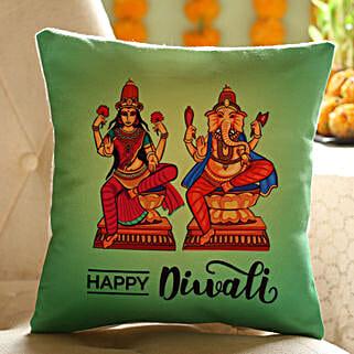 Laxmi Ganesha Printed Diwali Cushion: Send Diwali Gifts to Singapore