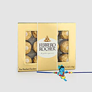 Little Krishna Rakhi And Tasty Rocher Combo: Rakhi and Chocolates to Singapore