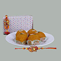 Motichoor Laddoo With Lumba Rakhi Set: Bhaiya Bhabhi Rakhi to Singapore