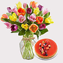 New York Cheese Cake and Colourful Tulips: Flowers and Cake Delivery in Singapore