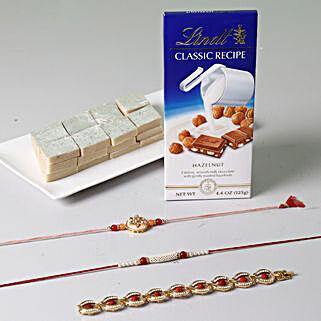 Unique Rakhi Celebration With Sweets And Lindt: Set of 3 Rakhis to Singapore