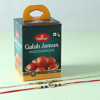 Yummy Gulab Jamun And Designer Rakhi Combo: Rakhi with Sweets to Singapore