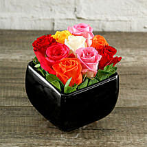 Rainbow Roses In Black Square Vase: Send Fathers Day Gifts to South Africa