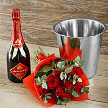Red Rapture Bubbly And Roses Gift: Rakhi to South Africa