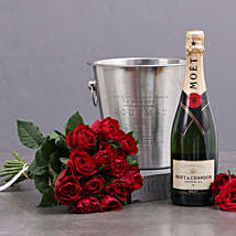 Red Roses Moet And Ice Bucket: Send Romantic Gifts to South Africa