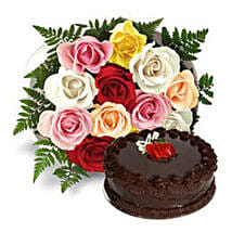 12 Multicolored Roses with Cake: Birthday Gifts Sharjah
