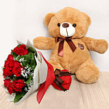 12 Red Roses Bouquet with Brown Teddy: Valentines Day Gifts For Boyfriend in UAE