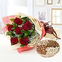 6 Red Roses Bouquet With Dry Fruits: Mother's Day Flower and Dry Fruits to UAE