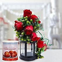 Alluring Roses Arrangement and Gulab Jamun Combo: Send Christmas Sweets to UAE