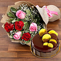 Beautiful Roses Bouquet With Chocolate Fudge Cake: Flower and Cake Delivery in UAE
