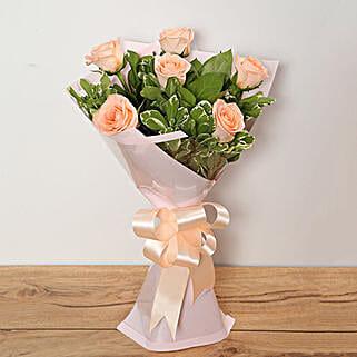 Bouquet Of Peach Roses: Send Roses to UAE