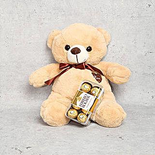 Coffee Brown Teddy Bear and Ferrero Rocher Chocolate Box: Rakhi Gifts for Sister in UAE