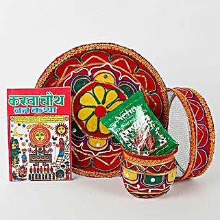 Colourful Karwa Chauth Pooja Thali Combo: Send Karwa Chauth Gifts to UAE
