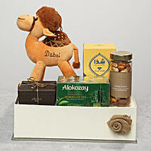 Dates Tea and Camel Stuff Toy Gift Set: Thanksgiving Day Gift Delivery in UAE