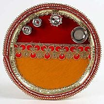 Decorated Red and Yellow Steel Pooja Thali: Send Karwa Chauth Gifts to UAE