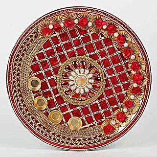 Decorative Karwa Chauth Maroon Steel Thali: Karwa Chauth Presents to UAE