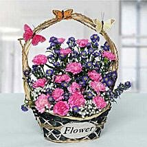 Deightful Carnations N Blue Aster Flower Basket: Carnations to UAE