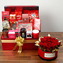 Delightful Food Hamper With Red Roses: Valentine's Day Hampers to UAE